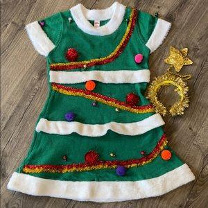 Ugly sweater Christmas tree dress